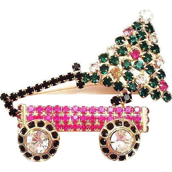 Lovely Christmas Rhinestone Tree & Toy Wagon Pin