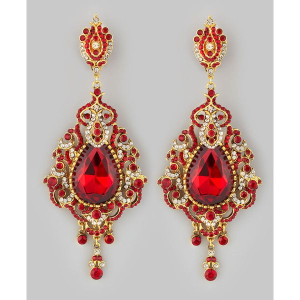 Teardrop Chandelier Clip Earrings Red By Jose Maria Barrera At Neiman Marcus