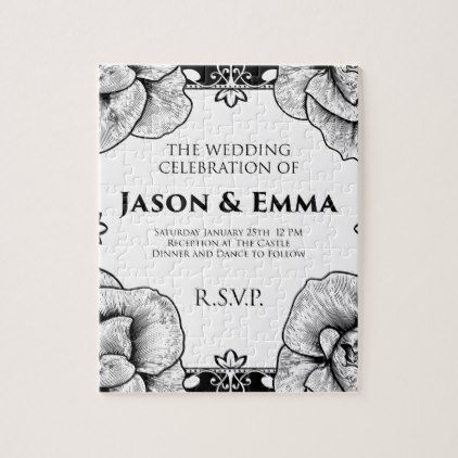 Roses wedding invite invitation template jigsaw puzzle vintage roses wedding invite invitation template jigsaw puzzle vintage wedding gifts ideas personalize diy unique style maxwellsz