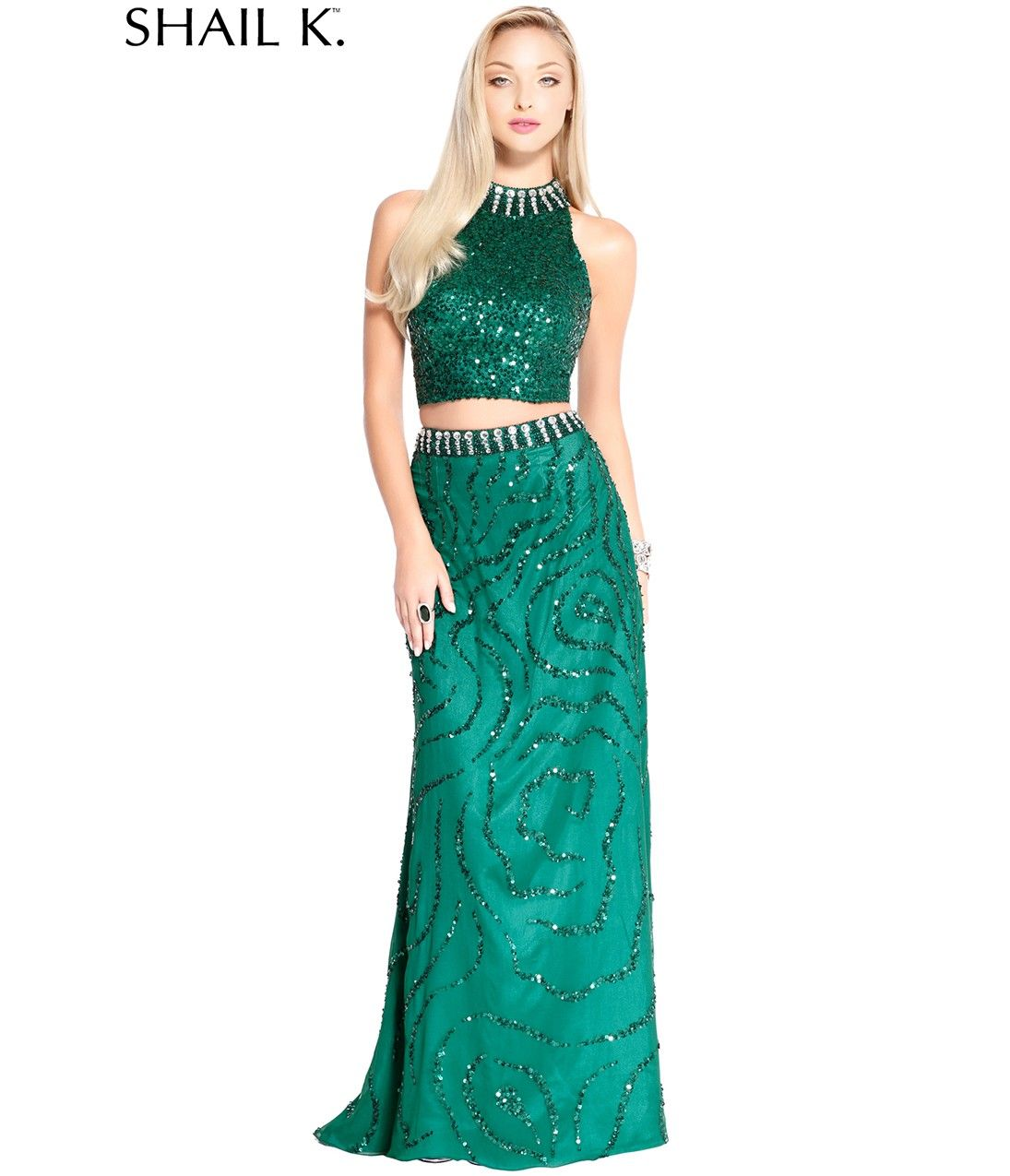 Green Sequin Two Piece Prom Dress:: Prom Dresses:: long prom dresses ...
