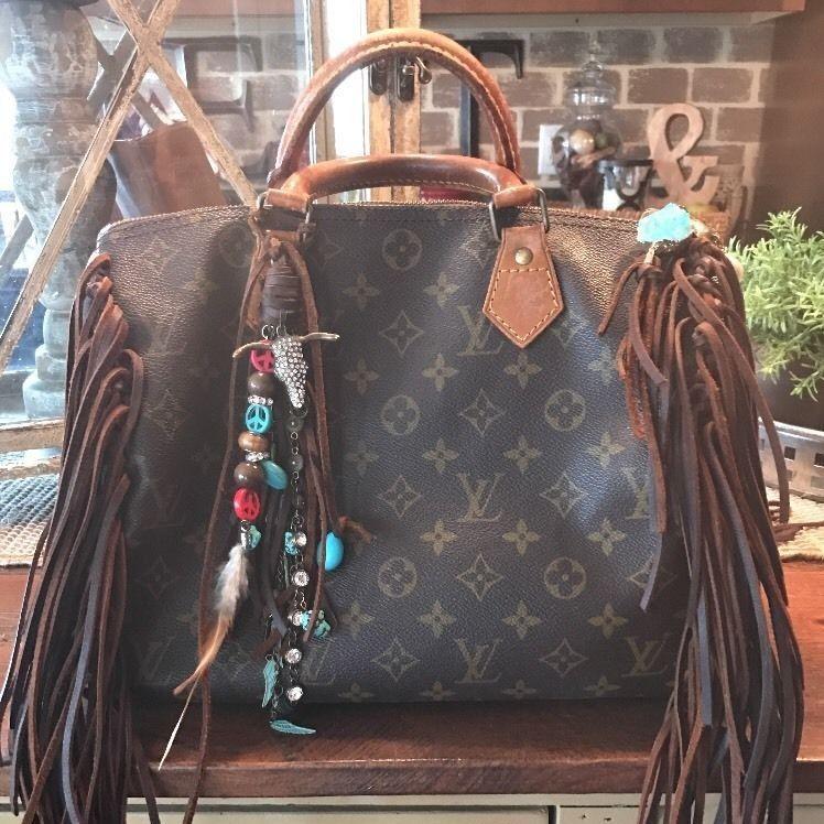 113c2bec7 Louis Vuitton Speedy 30 Monogram Handbag. Upcycled. Fringed. Boho ...