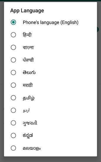 Whatsapp language