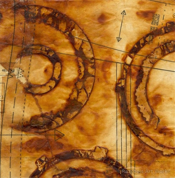 Oxide Conveyance by Pam Nichols - encaustic, paper and rust