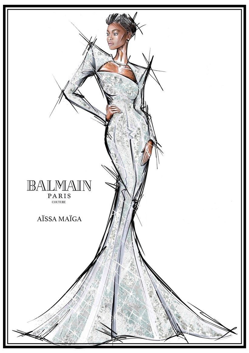 The Stars Of The Cannes Documentary My Profession Is Not Black Stand Together In Balmain Fashion Illustration Dresses Fashion Drawing Dresses Fashion Sketches Dresses
