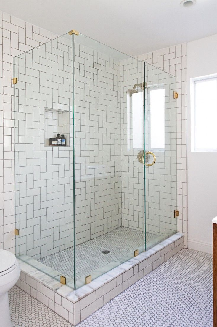 Glass and brass shower bathroom pinterest bath house plans the herringbone patter doesnt have to be vertical sarah sherman samuel turned this pattern on its side image via smitten studio penny tile bathroom dailygadgetfo Images