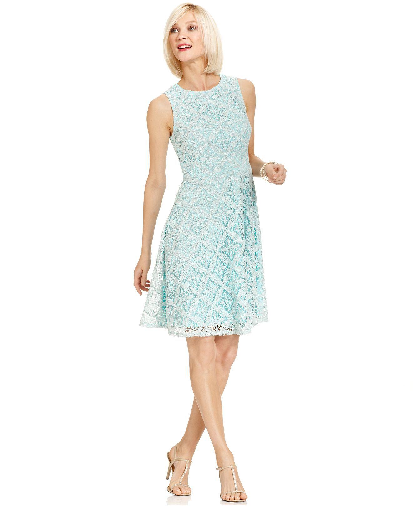 Macy's party dresses weddings  London Times Dress Sleeveless CrochetLace ALine  Womens Dresses