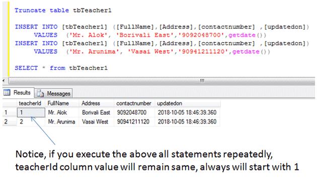 Sql Truncate Statement Example Sql Sql Tutorial Sql Server