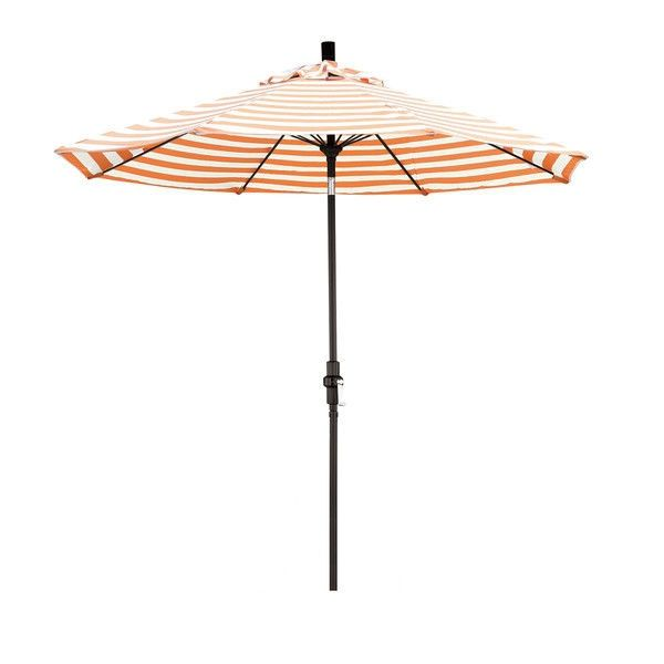 9 Ft Tilt Patio Umbrella With Orange Natural White Stripe And Matte Black Pole Patio Umbrella Patio Shabby Chic Patio Patio umbrella with white pole