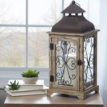 Distressed Cream Antique Scroll Lantern Home Decor In 2019