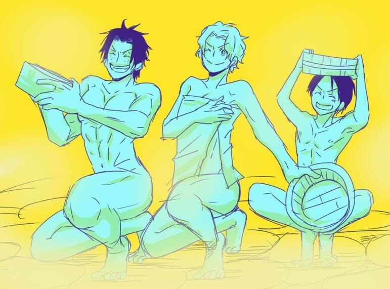 Ace, Sabo, Luffy, brothers, smiling, wash buckets, onsen