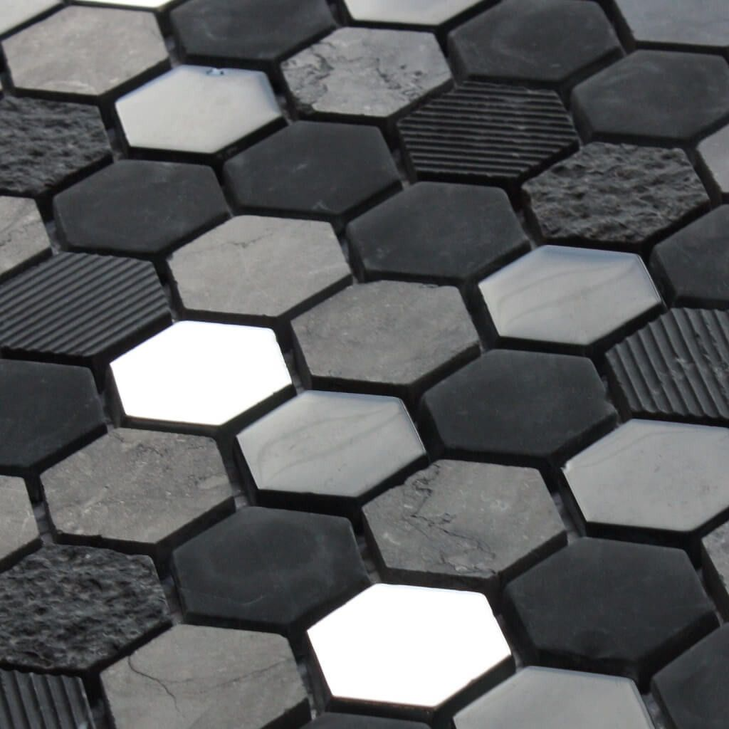 Black Hex Mosaic Tile 30 X 30 Cm Black Wall Tiles Roof Tiles