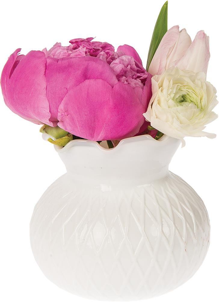 Milk Glass Vase Short Ruffled Design Wholesale Bulk Vases
