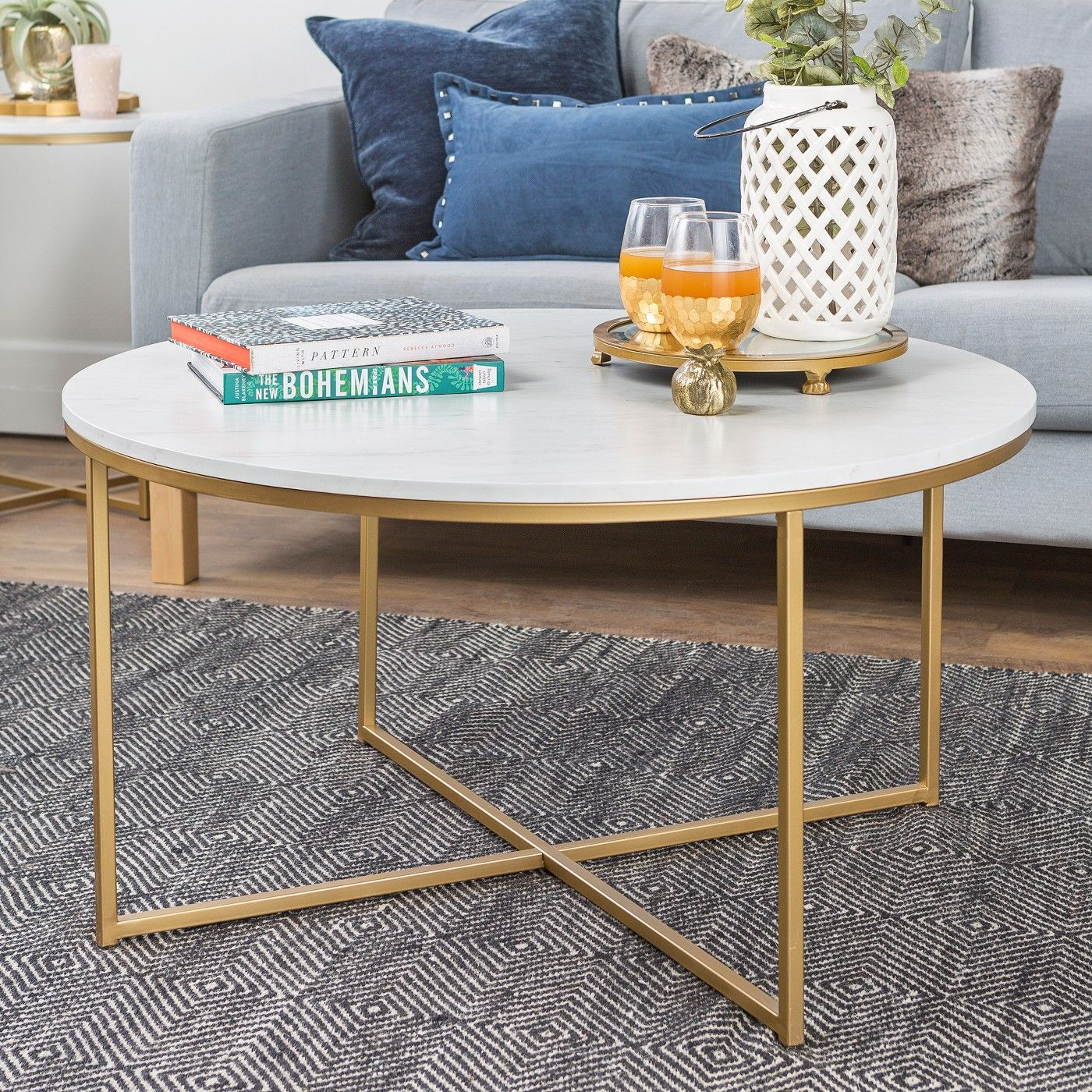 36 Coffee Table With X Base Marble Gold Saracina Home