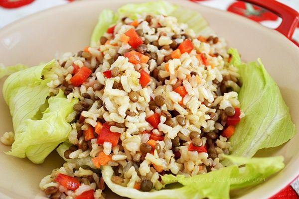 Ensalada de arroz integral con lentejas madeleine cocina - Ensalada de arroz light ...