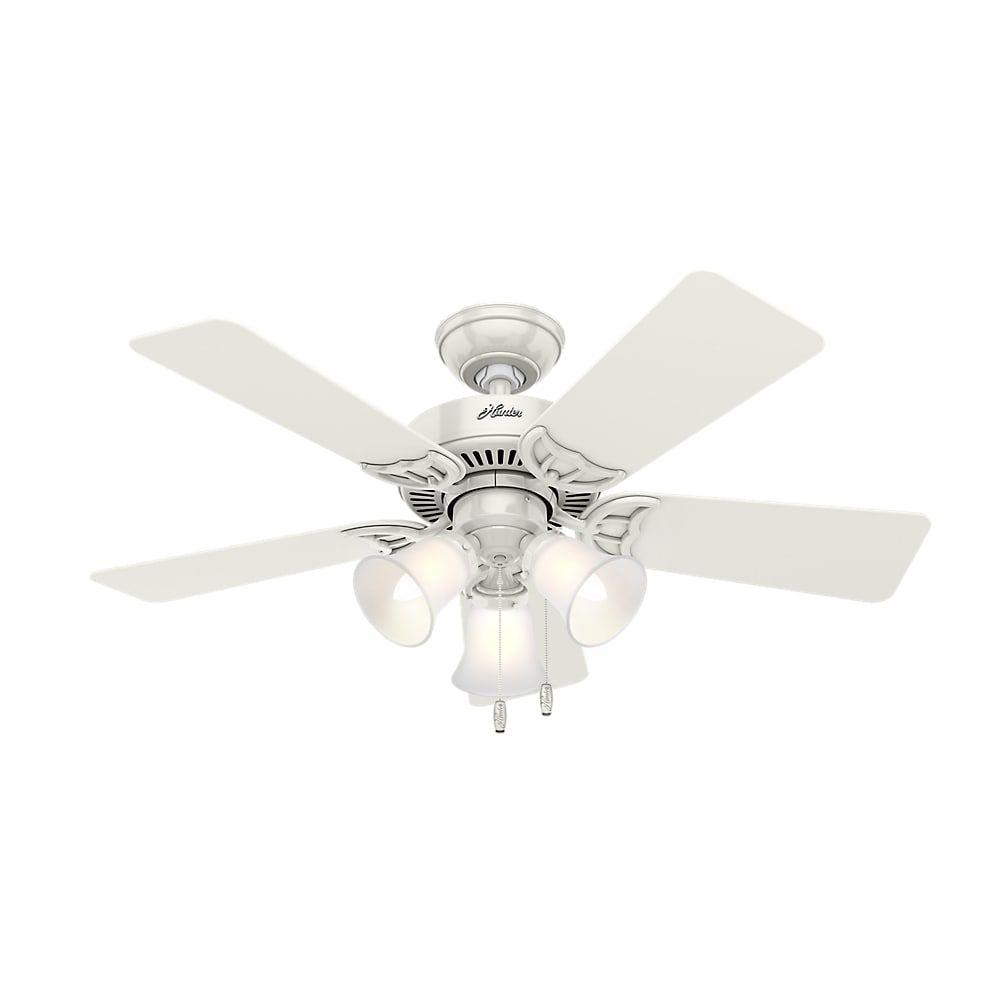 Hunter fan inch southern breeze ceiling fan white glass