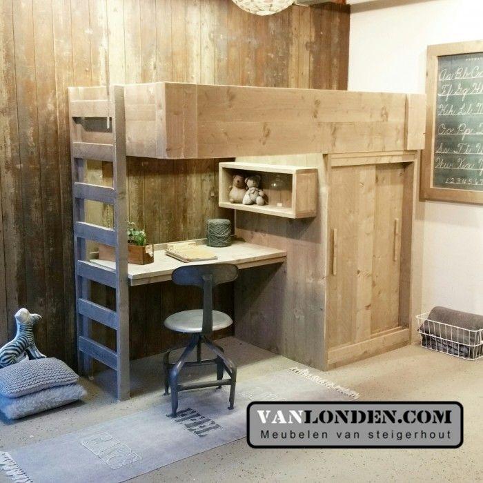 Steigerhouten hoogslaper ferdy 4 kinderslaapkamer pinterest kids rooms bedroom boys and - Bed kamer mezzanine ...