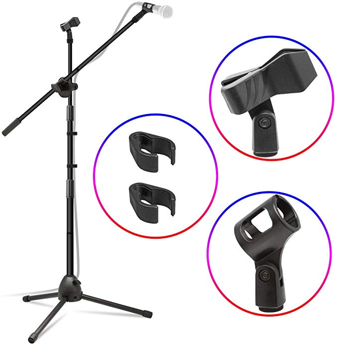 Kasonic Microphone Stand Heavy Duty Adjustable Collapsible Tripod Boom Mic Stands With 2 Mic Clip Holders For Perfo Microphone Stand Microphone Portable Music