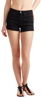 Aeropostale Womens High-Waisted Black Wash Destroyed Shorty Shorts Black