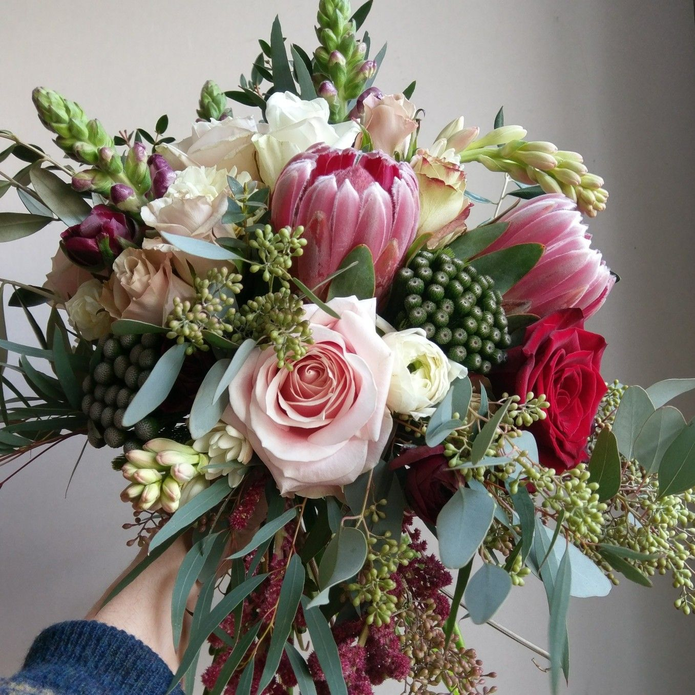 Protea And Rose Bridal Bouquet With Eucalyptus And Brunia Red And
