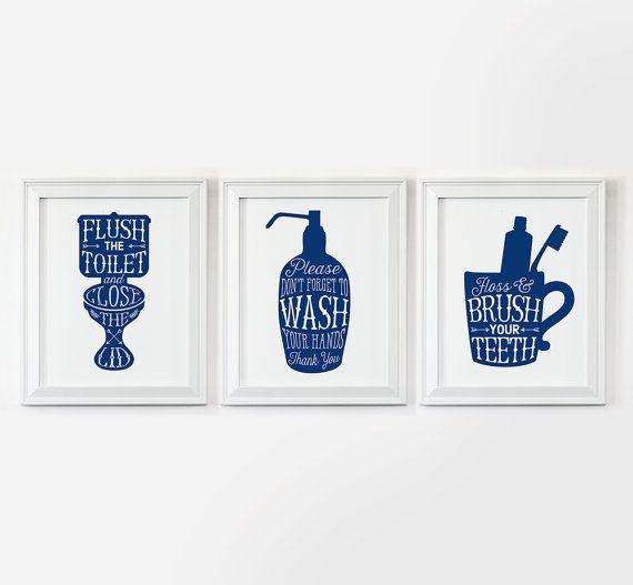 Bathroom decor printable art flush toilet sign wash hands signs kids wall washroom also best blue images home powder room rh pinterest