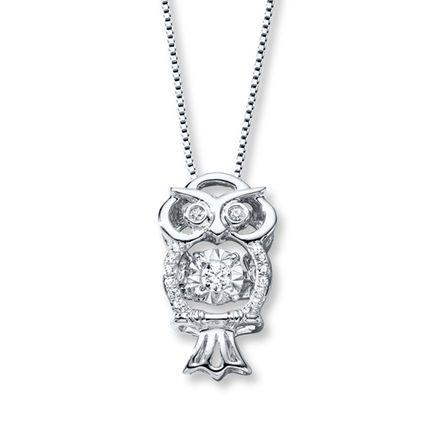 3e9de6e41 Diamonds in Rhythm 1/10 ct tw Necklace Sterling Silver Owl | jewelry ...