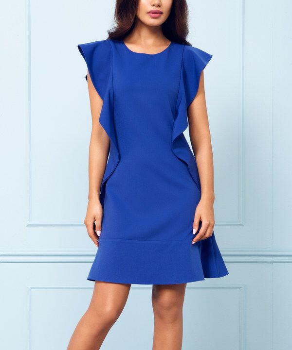 Look at this Rita Koss Cobalt Side-Ruffle Sheath Dress on #zulily today!