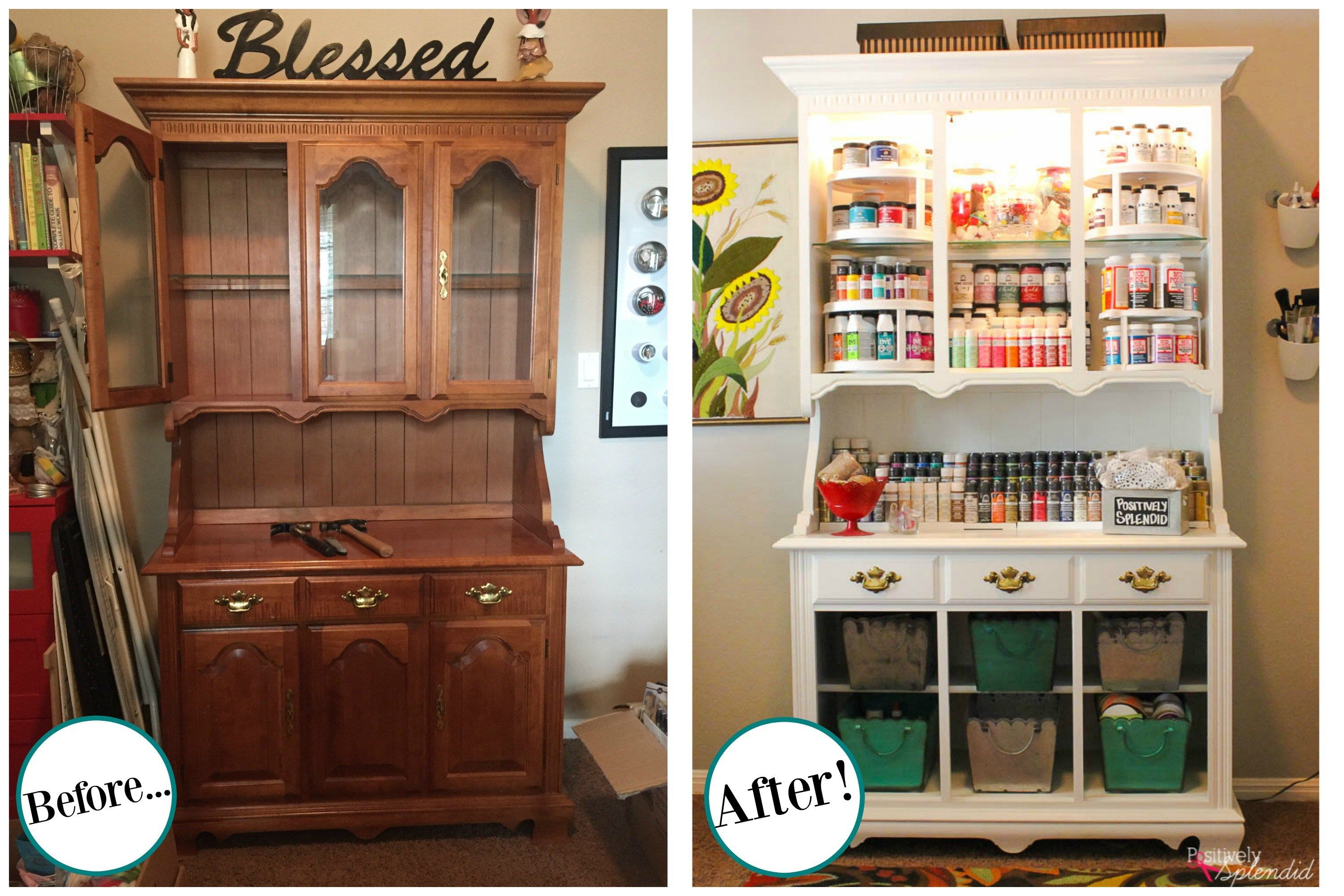 Turn an outdated hutch into a craft