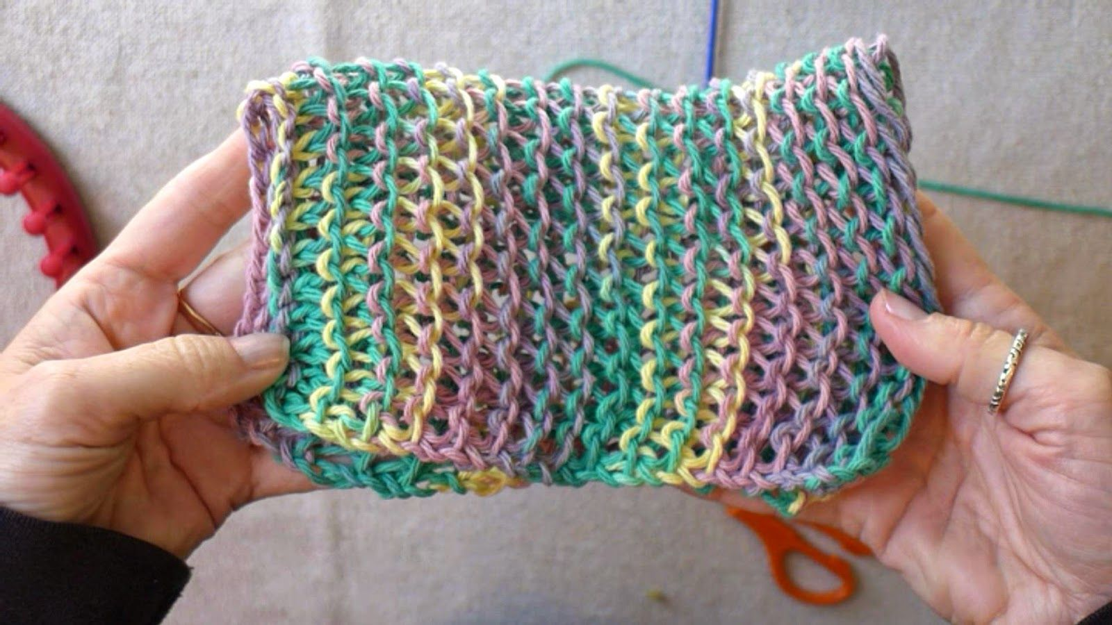 Learn the Basic Stitches for Loom Knitting - Dish Cloths | Loom ...