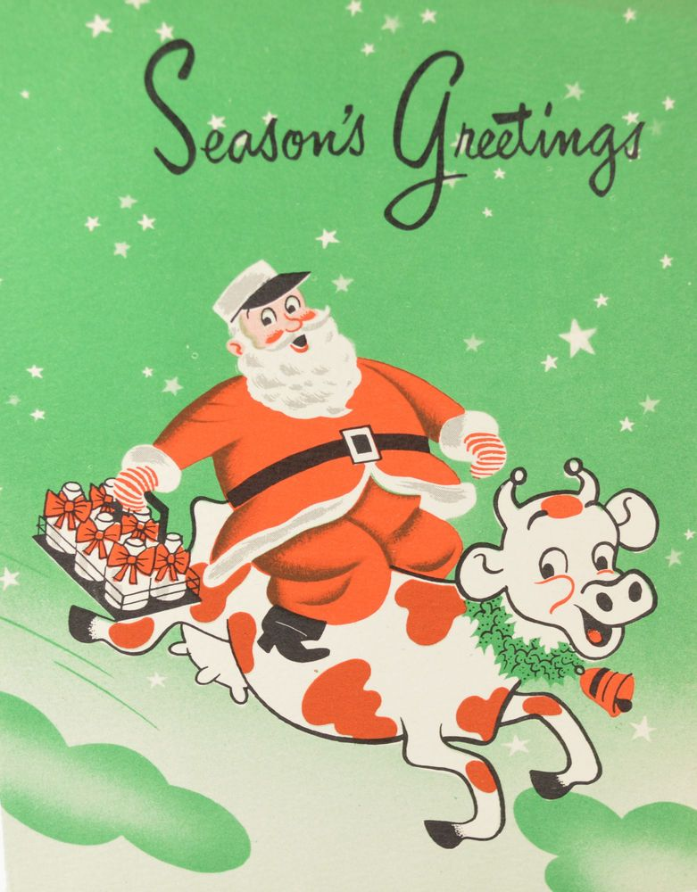Vintage Christmas Card Santa Riding a Cow Milk Delivery Man ...