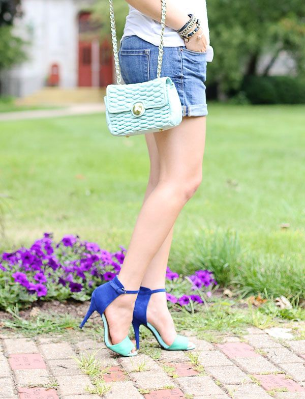 denim shorts and color blocked heels || Modest Fashion || Modest Outfit Inspiration || LDS || Visit my Modest Style blog: modest-style.com ||