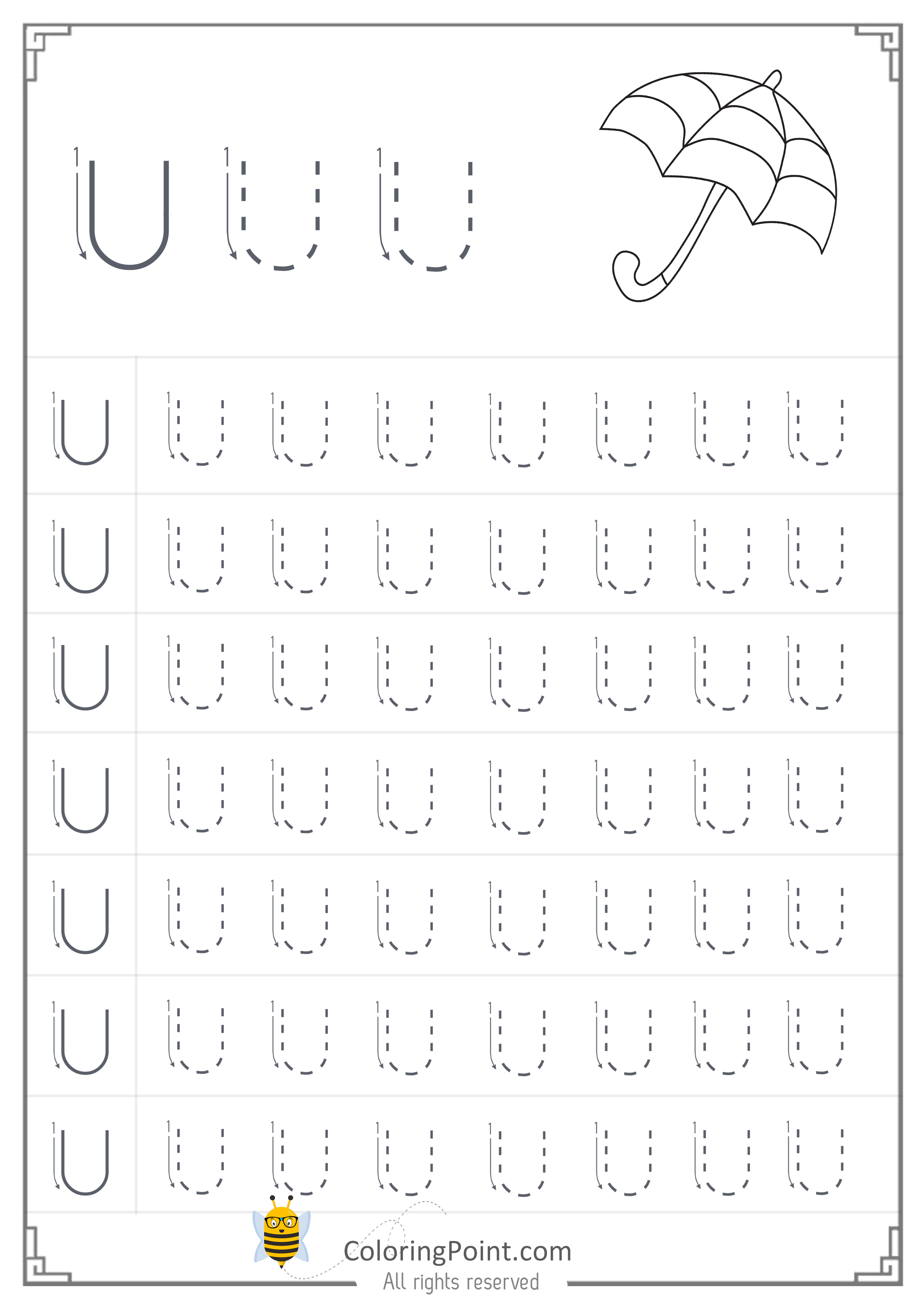 Free Printable Tracing Letter U Worksheets Preschool Coloring Point Coloring Point Tracing Letters Math Fact Worksheets Letter Tracing Worksheets