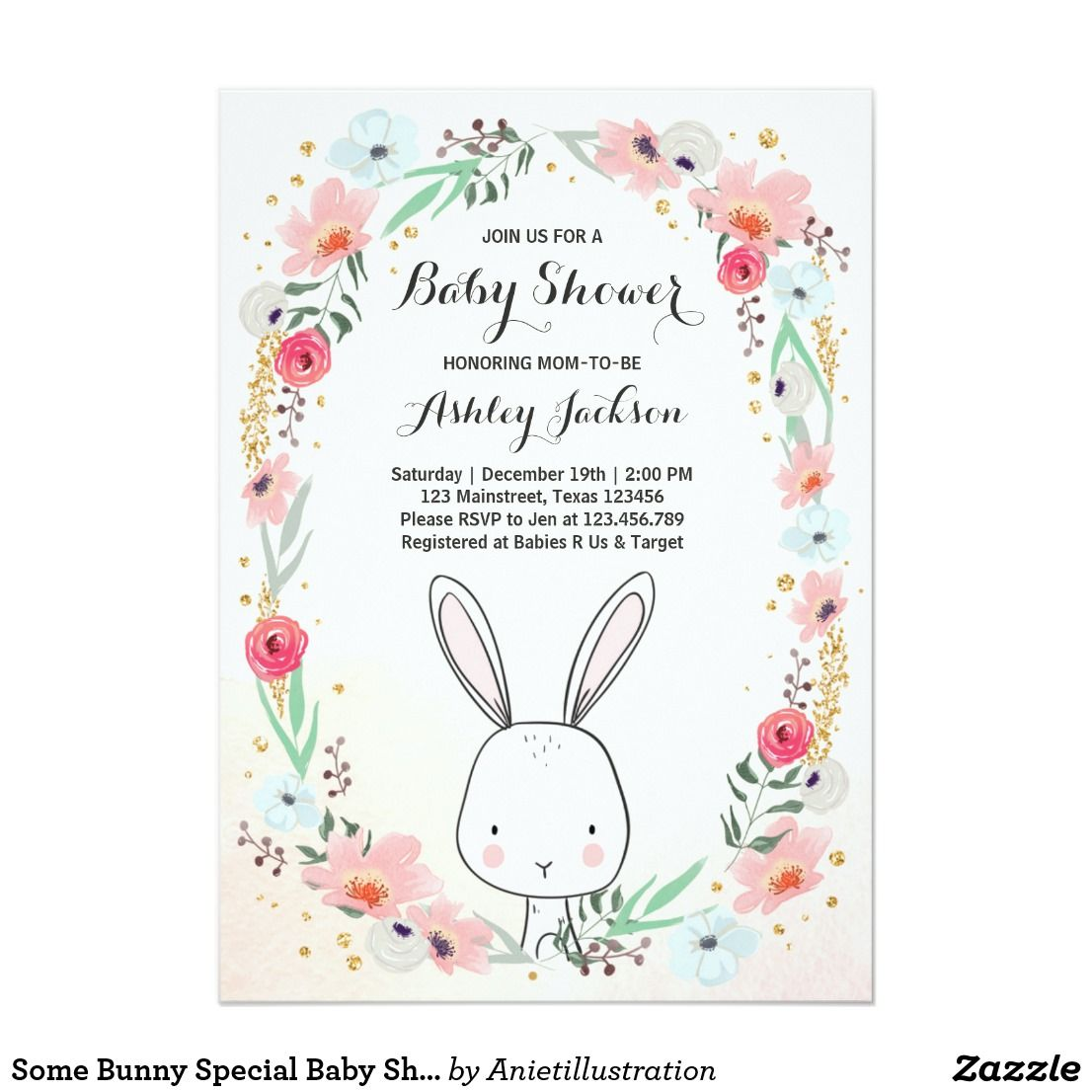 Little Bunny Baby Shower invitation Floral Girl | Shower invitations ...