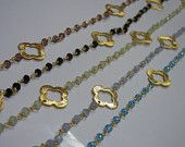 Multi Glass Gold Plated Beaded Chain with Clover Quatrefoil - Selling Per Foot