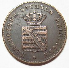1867 Copper 2 PFENNIG (pfennige) GERMANY GERMAN STATE SAXE-MEININGEN 480k minted