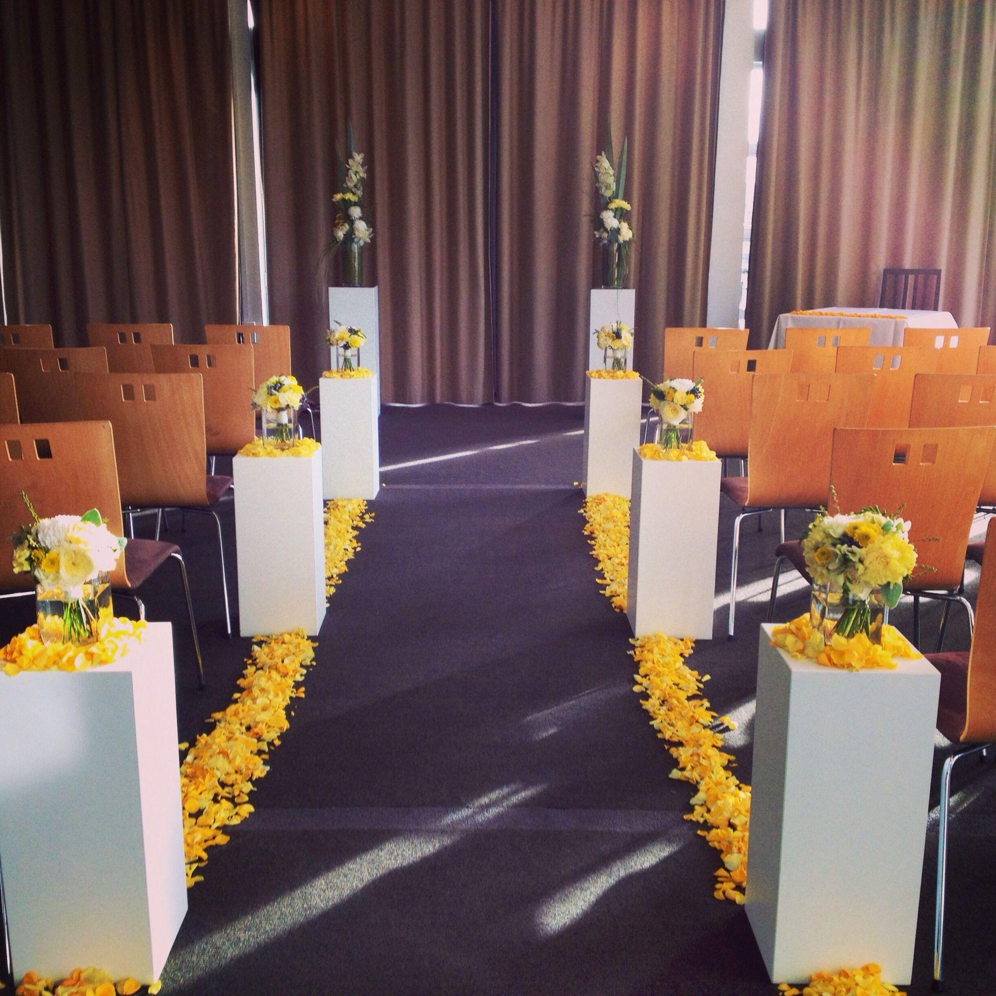Yellow And Grey Wedding Flowers: Yellow, Grey And White Wedding Aisle... Www.myfloweraffair