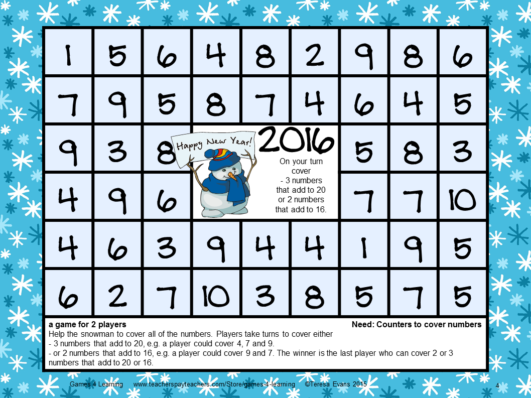 FREEBIES - New Years 2016 Math Games is a set of 4 math board games ...