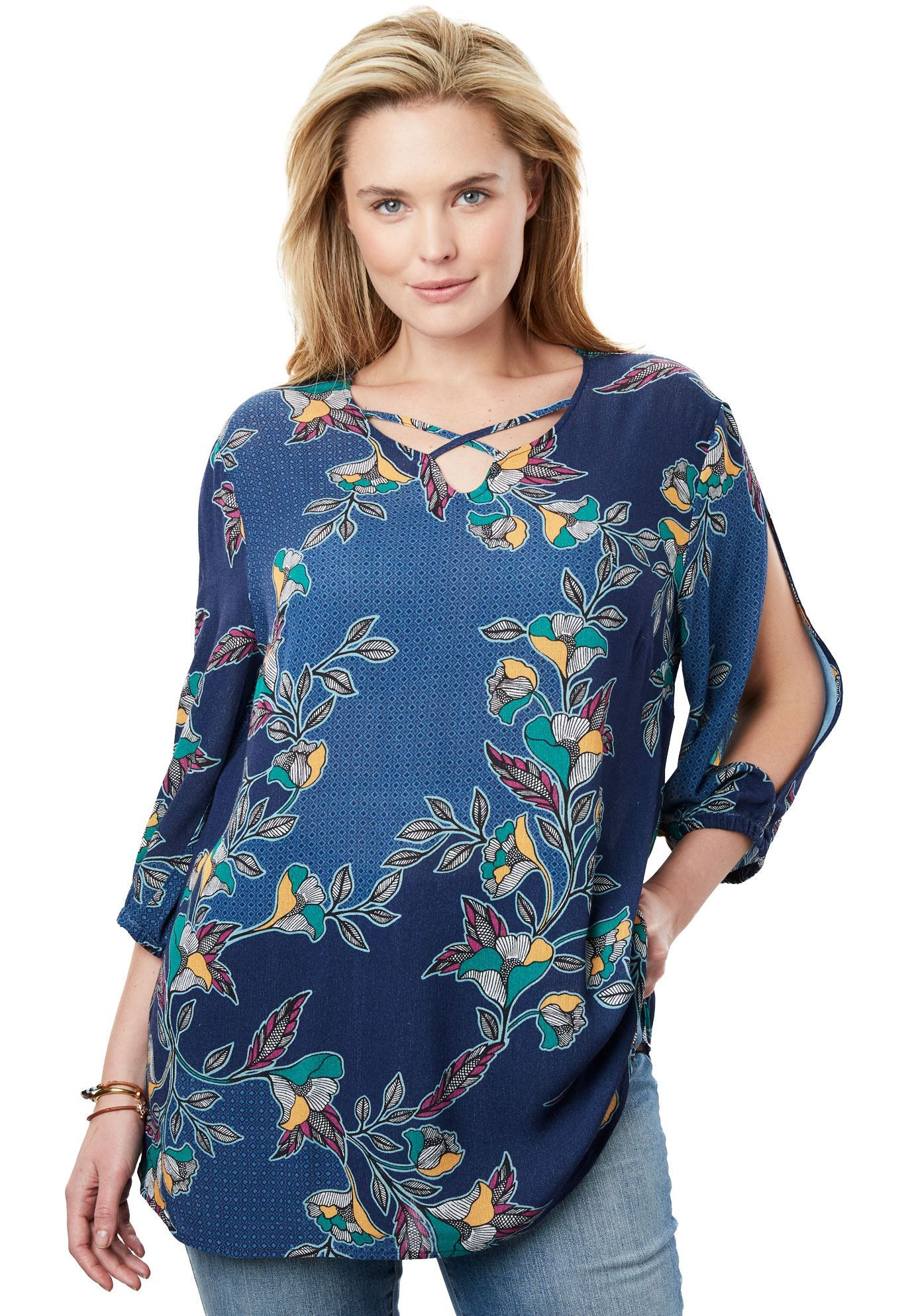 a7961374e9b0b9 Textured Gauze Shirt - Women s Plus Size Clothing
