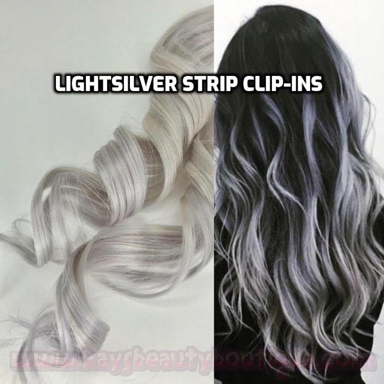 100 Human Hair White Silver Gray Platinum Blonde Strip Clip In