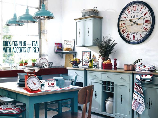 Kitchen Ideas Duck Egg duck egg blue kitchen colour scheme ideas - accents of red