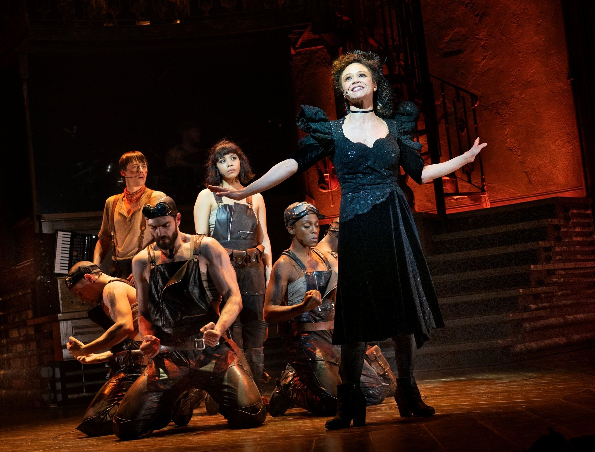 Standing from left: Reeve Carney as Orpheus, Eva Noblezada