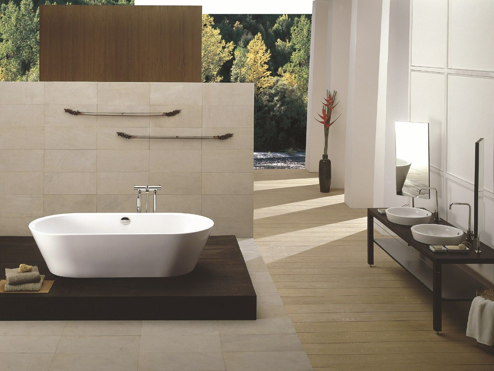 Sleek Bathroom Laminate Flooring With White Wall And Bathtub Furniture
