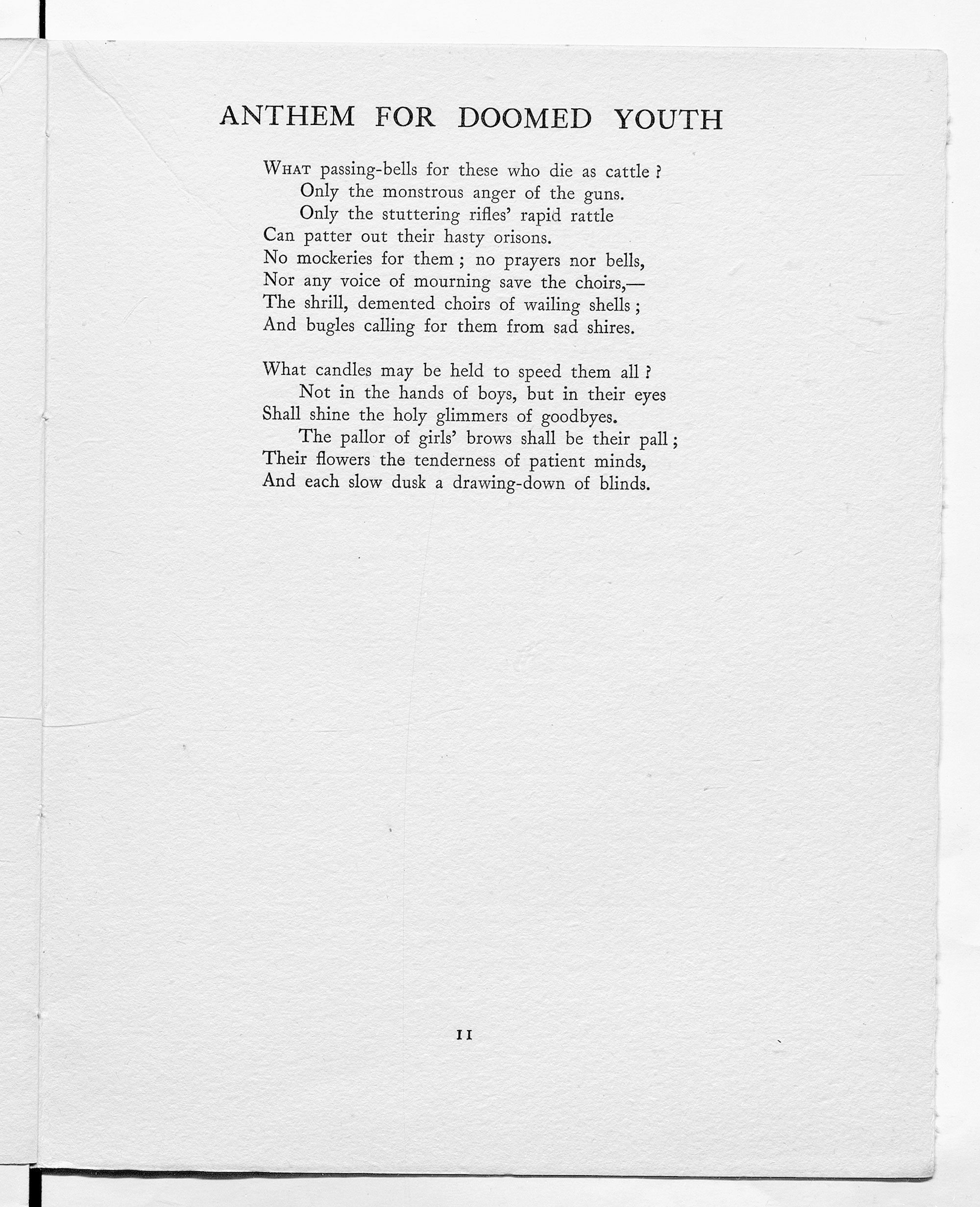 Anthem For Doomed Youth By Wilfred Owen As Published In