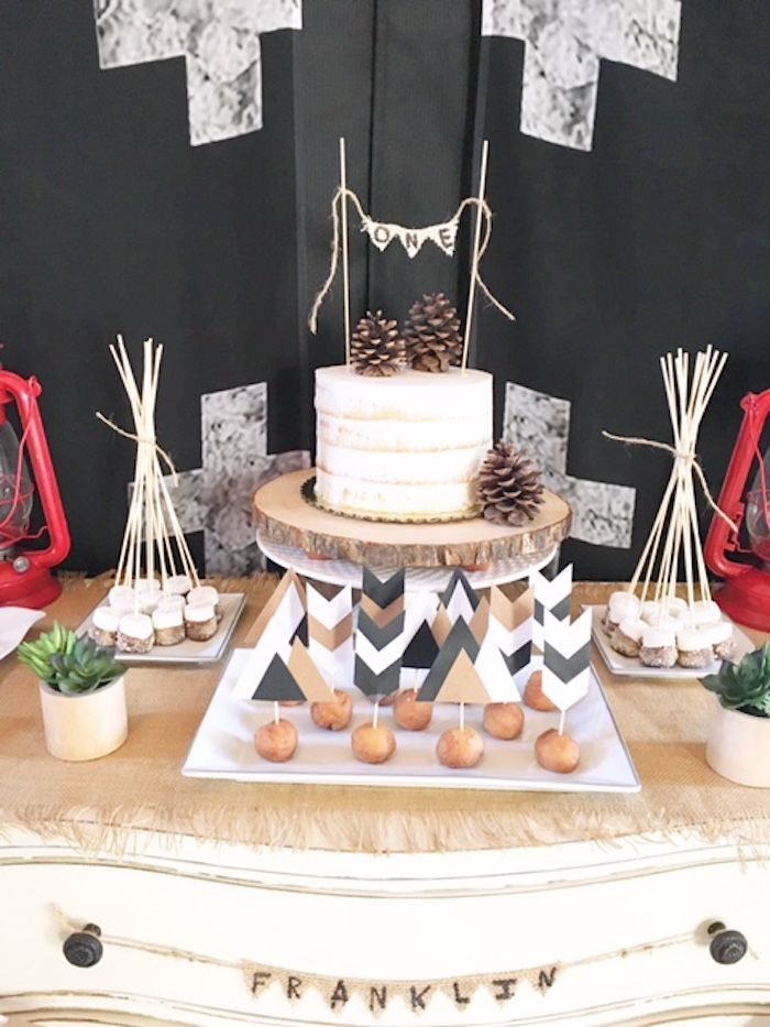 Cakescape From A Rustic Camping First Birthday Party On Karas Ideas