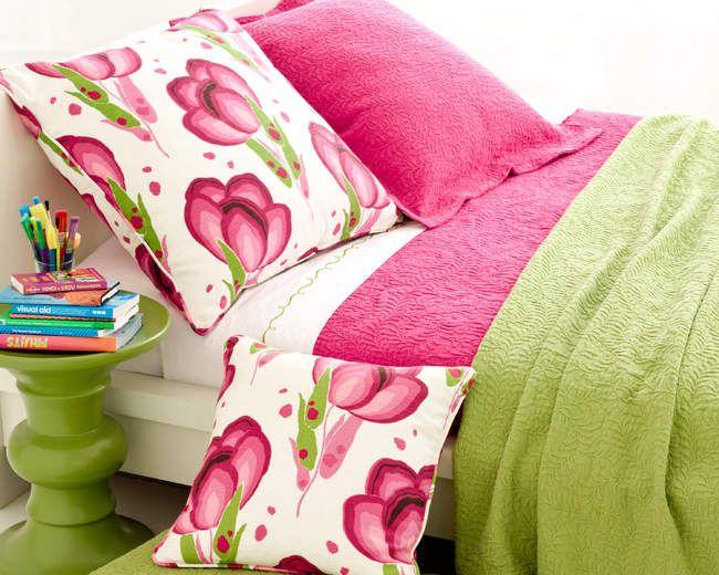 Scramble Matelasse by Pine Cone Hill, shown here in Fuchsia Pink & Key Lime Green @ J Brulee Home