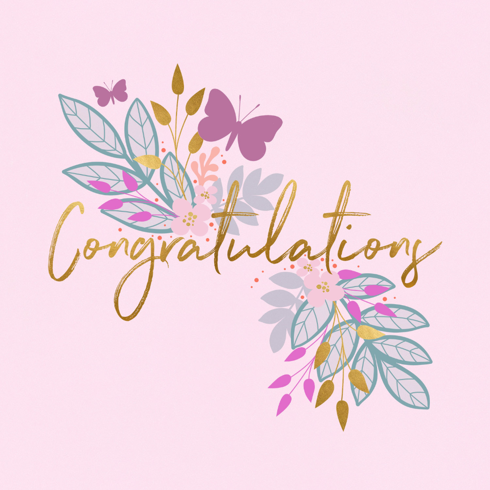 Butterflies Flowers Engagement Congratulations Card Greetings Island Congratulations Images Congrats Card Congratulations Card