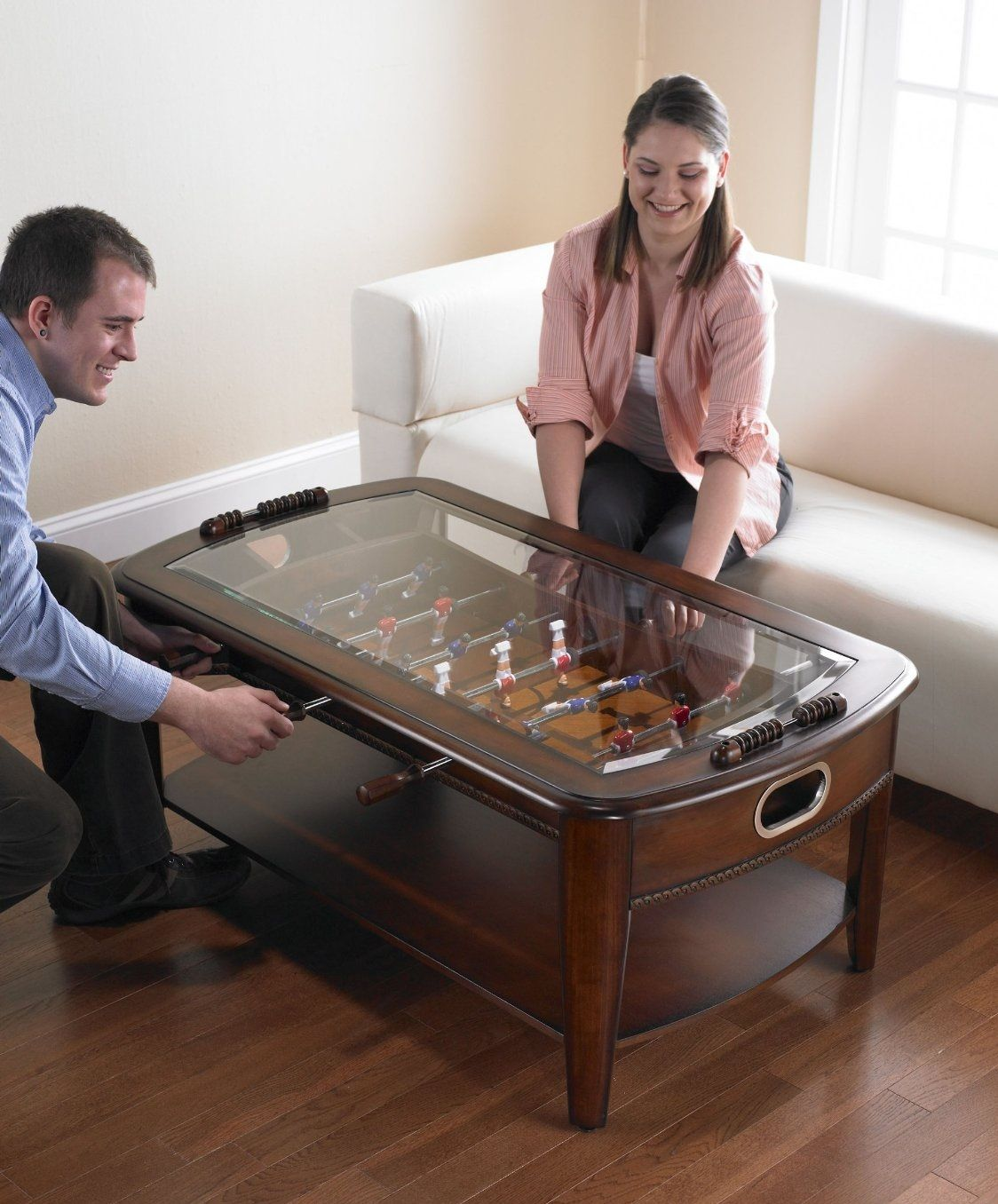 The Foosball Coffee Table - $549.00 http://www.strictlymancave.com/foosball-coffee-table/ #mancave #foosball #coffee #table