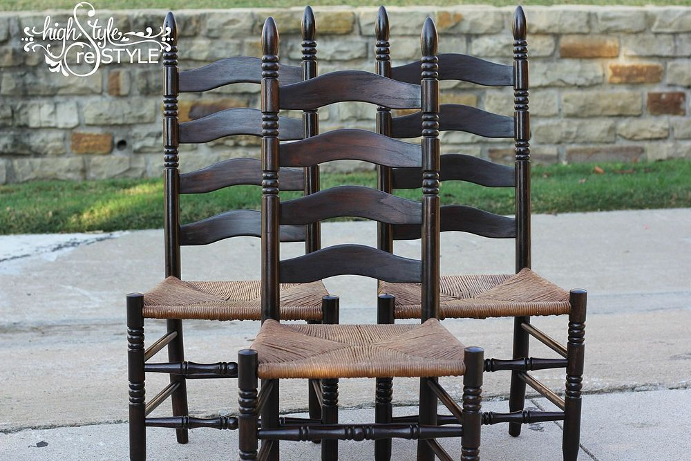 Staining Outdated Oak Ladder Back Chairs In Walnut Ladder Back Chairs Ladder Back Dining Chairs Chair Makeover Oak ladder back chairs