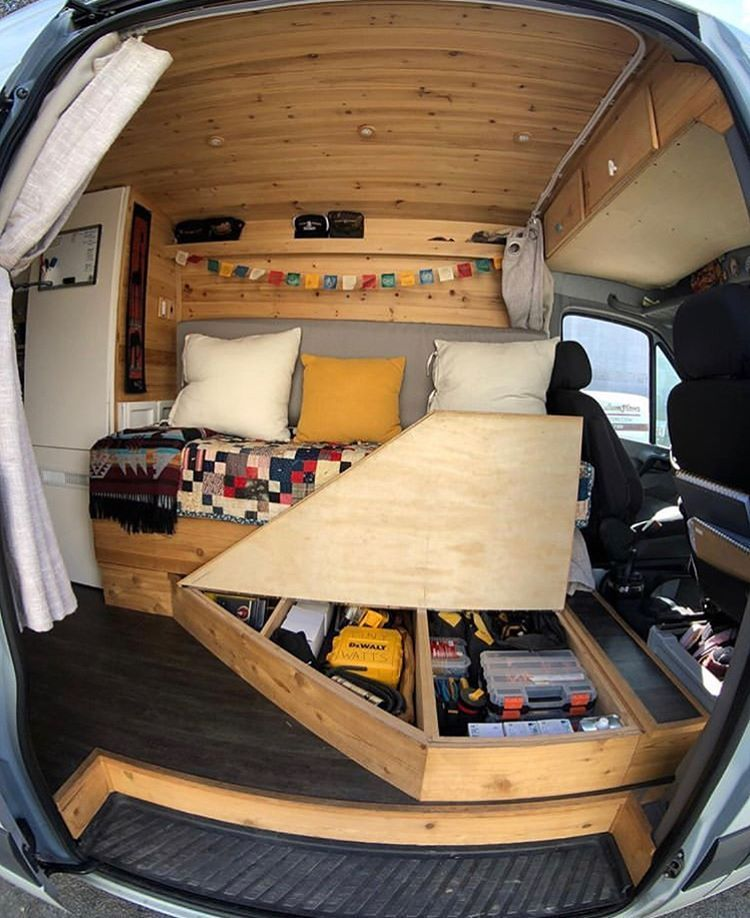 """The Roadside Collective on Instagram: """"When going big on storage in a small space is the only option. ... 📷: @tinywattssolar""""  #Big #Collective #Instagram #Option #Roadside #Small #space #Storage #tinywattssolar #vanlifestorage"""