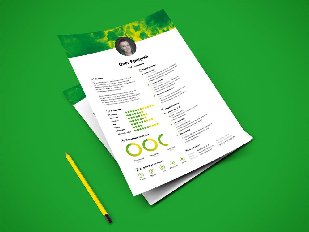 Free resume template with green color scheme resume