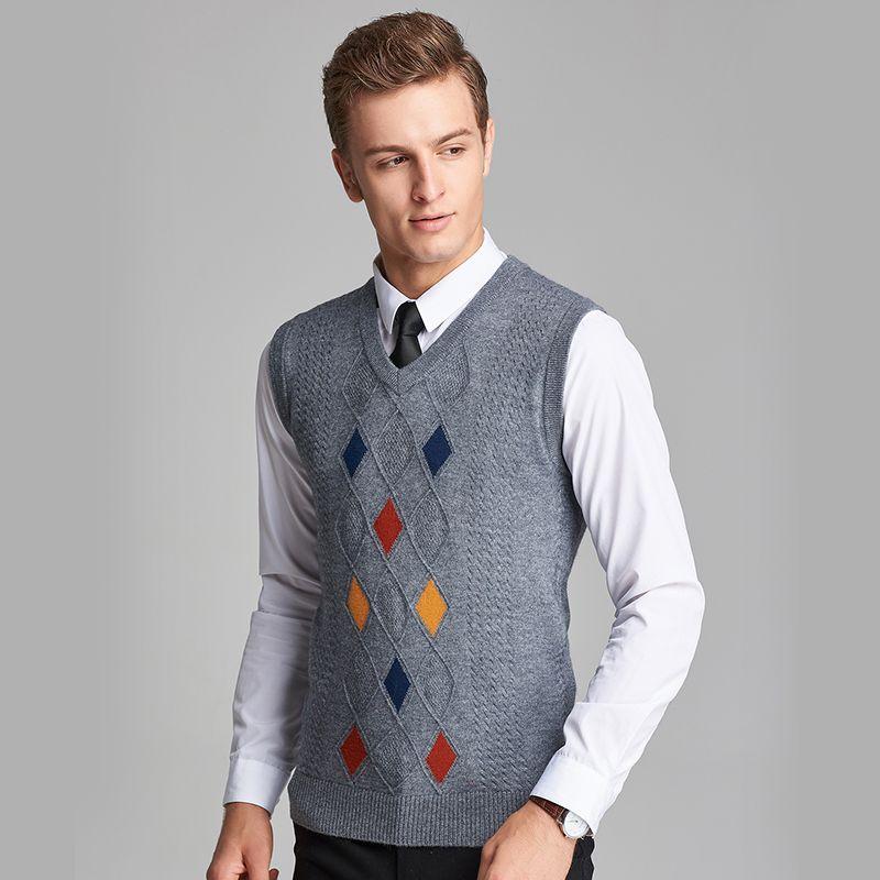 Men's Fine Gauge Argyle V-neck Sweater Vest from Lands' End, $54 ...